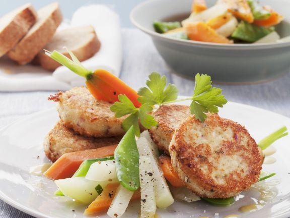 Quarkbratlinge mit Gemüsesalat