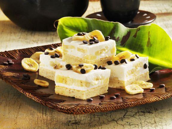 Quarkkuchen mit Bananen und Schokotropfen