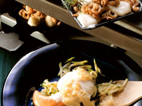 Raclette mit Fisch und Frutti di mare