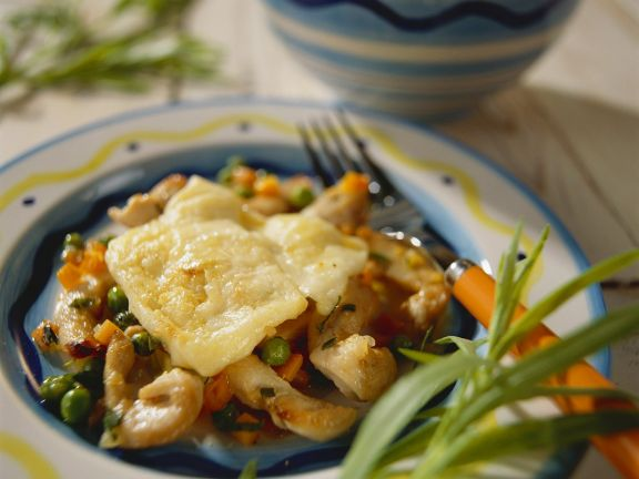 Raclette mit Hähnchen und Gemüse