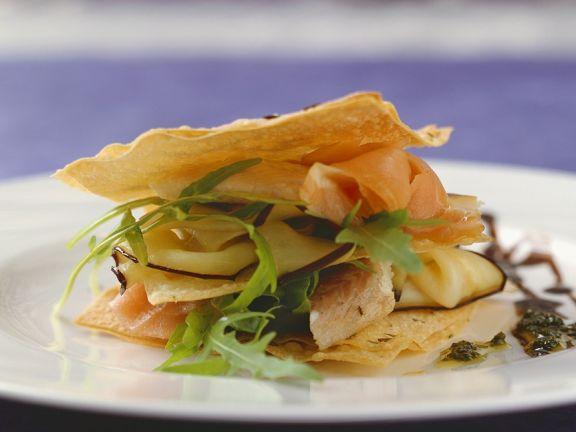 Räucherfisch-Salat mit Knuspterteig