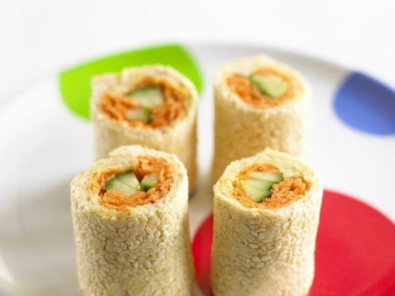 Räucherlachs-Sandwichröllchen