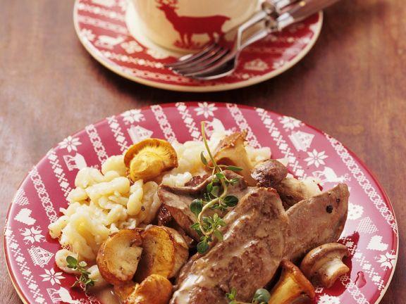 Rehschnitzel mit Waldpilzsauce