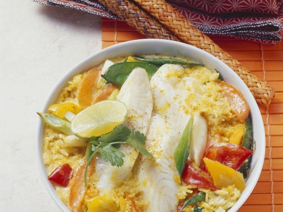Reis-Fisch-Auflauf nach asiatischer Art