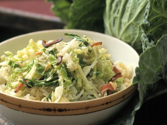 Reis-Kohl-Salat mit Speck