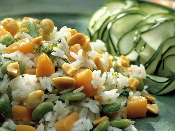 Reis mit Bohnen und Kürbis