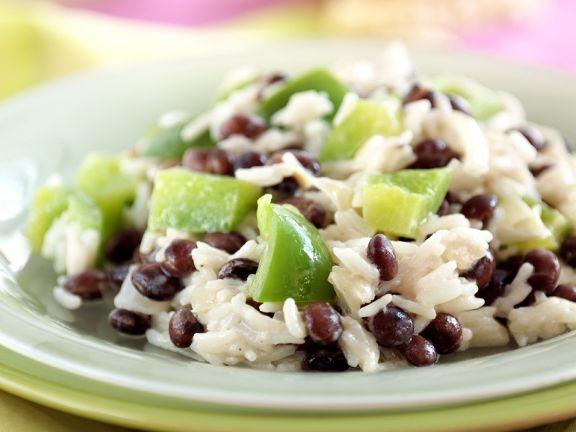 Reis mit Bohnen und Paprika