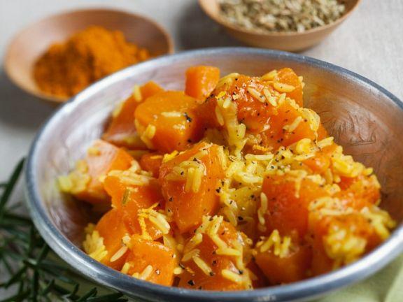 Reis mit Curry-Kürbis