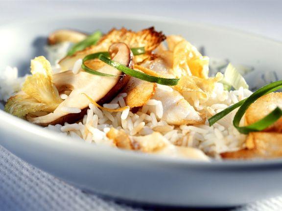 Reis mit Fisch und Shiitake