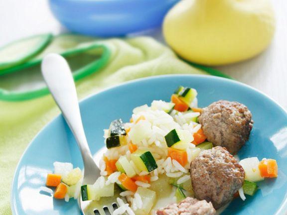Reis mit Gemüse und Fleischbällchen