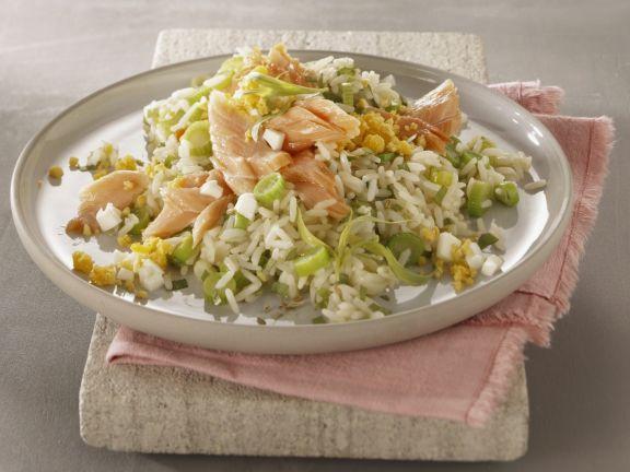 Reis mit Gemüse und Stremellachs