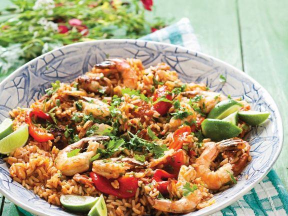Reis mit Hähnchen, Wurst und Shrimps