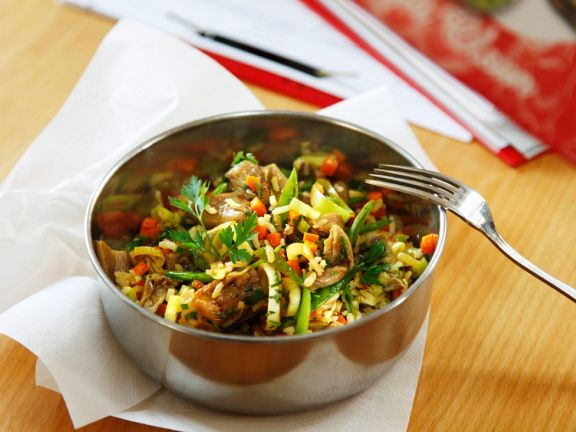 Reis mit Pilzen und Gemüse