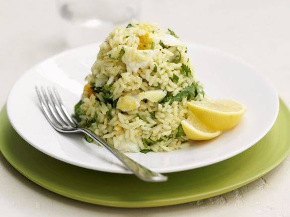 Reis mit Räucherfisch und Ei (Kedgeree)