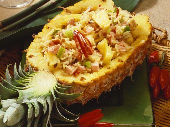 Reis mit Schinken und Ananas