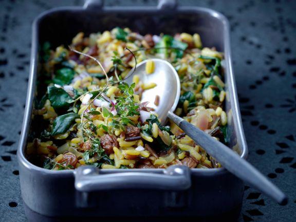 Reis mit Spinat und Rosinen