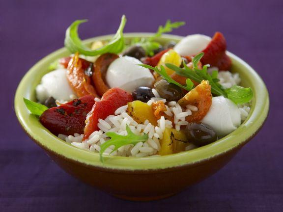 Reis-Paprika-Salat mit Mozzarella
