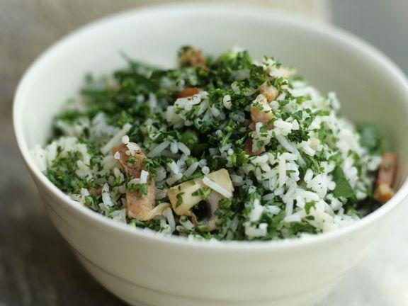 Reis-Pilzsalat mit Speck