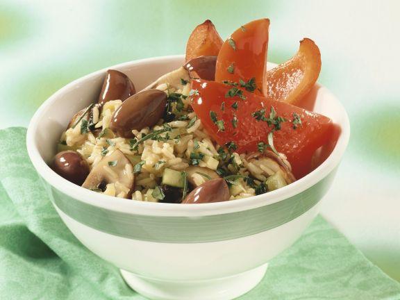 Reis und Gemüse aus dem Wok