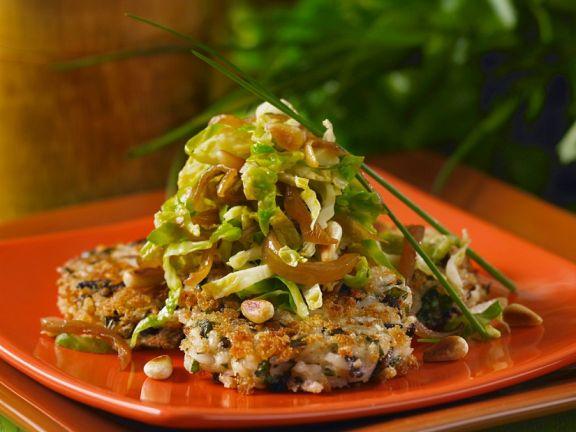 Reisbratlinge mit Rosenkohl-Zwiebel-Gemüse