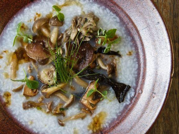 Reisbrei mit Pilzen