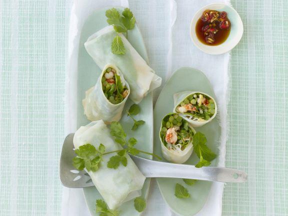 Reispapierröllchen mit thailändischem Spargel