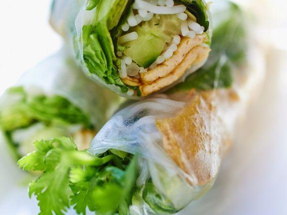 Reispapierröllchen mit Tofu, Salat und Gurke