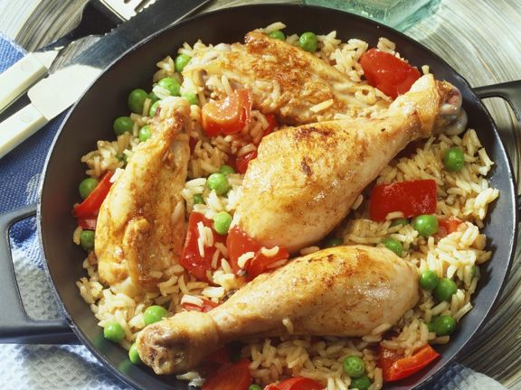 Reispfanne mit Gemüse und Hähnchen