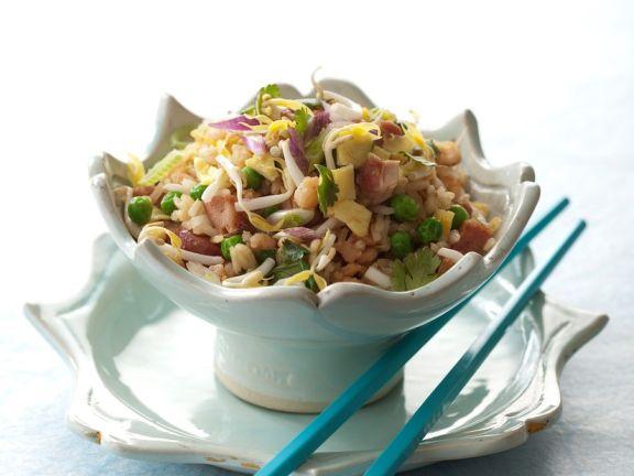 Reispfanne mit Gemüse und Shirmps