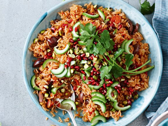 Reissalat mit Granatapfelkernen und Pistazien