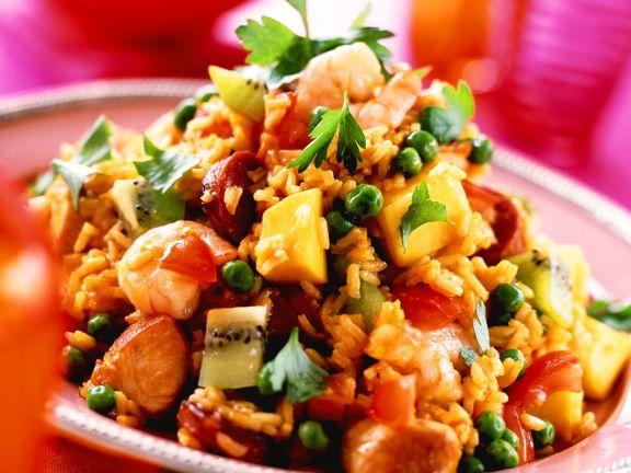 Reissalat mit Pute und Früchten