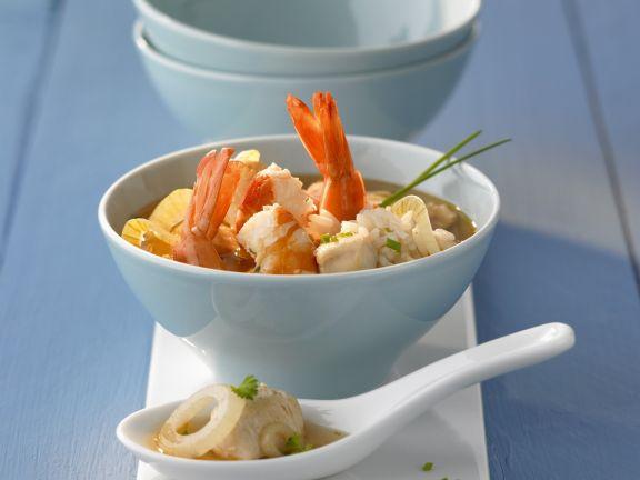 Reissuppe mit Shrimps
