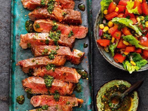 Ribeye-Steaks mit Chimichurri-Sauce