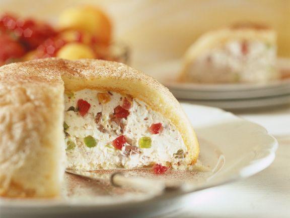 Ricotta-Frucht-Kuchen mit Biskuit