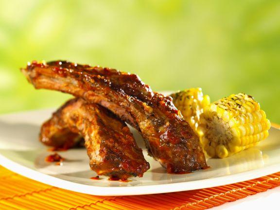 Rinderrippchen und Mais vom Grill