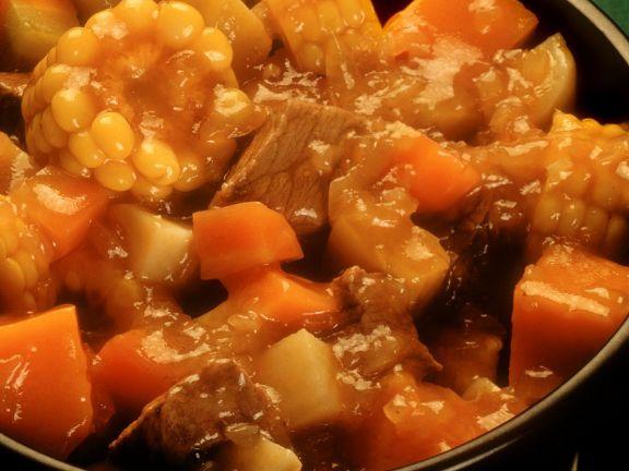 Rindfleisch-Gemüseeintopf süßsauer