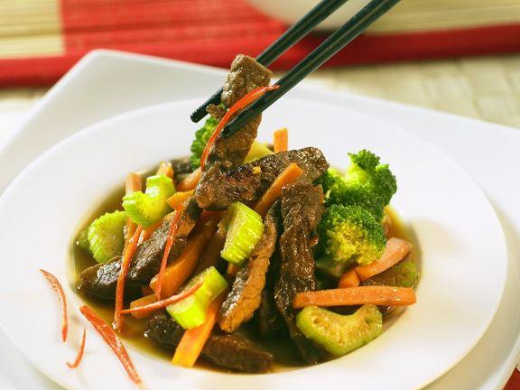Rindfleisch-Gemüsepfanne