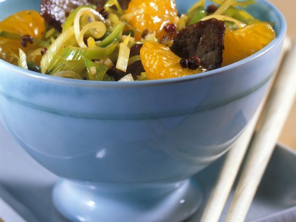 Rindfleisch mit Lauch und Mandarinen