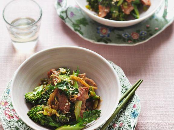 Rindfleisch und Brokkoli aus dem Wok
