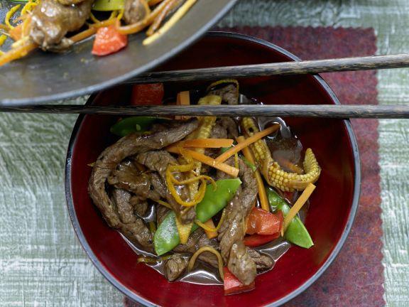 Rindfleisch aus dem Wok