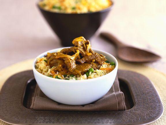 Rindfleischpfanne mit Reis