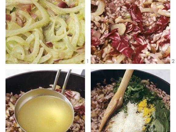 Risotto mit Radicchio und Fenchel zubereiten