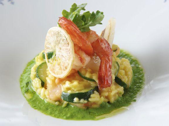 Risotto mit Schwertfisch und Shrimps