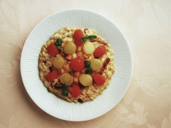 Risotto mit Tomaten, Topinambur und Kürbis