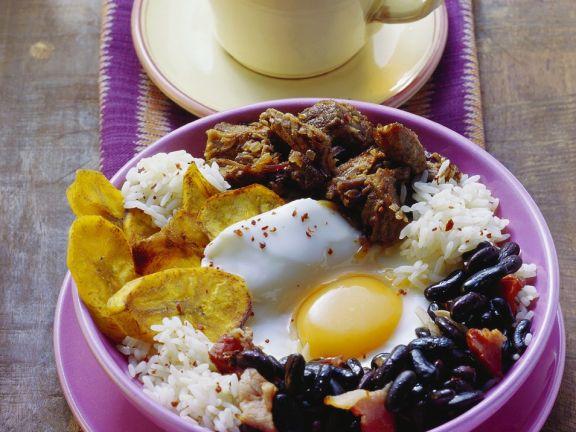 Rndfleisch mit Bohnen und Reis