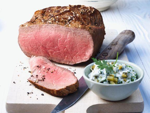 Roastbeef mit Kartoffeln und Sauce Remoulade