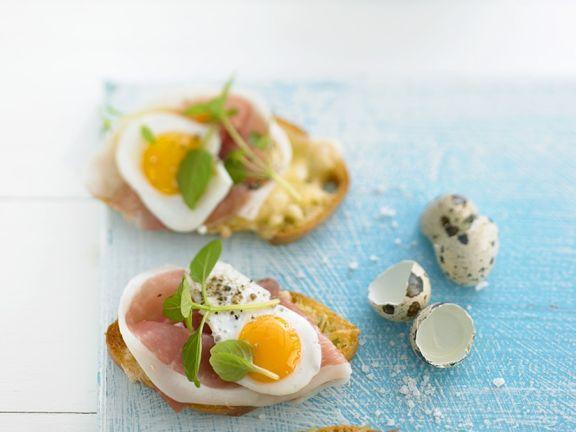 Röstbrot mit Schinken und Ei