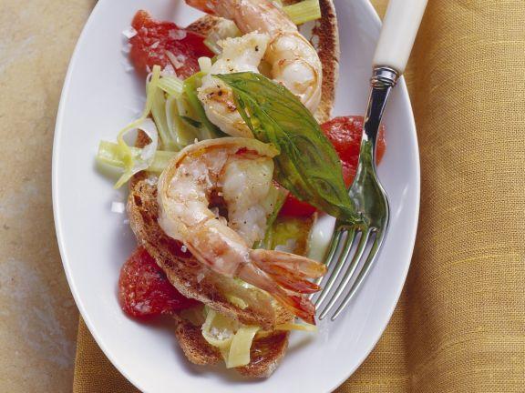 Röstbrot mit Shrimps