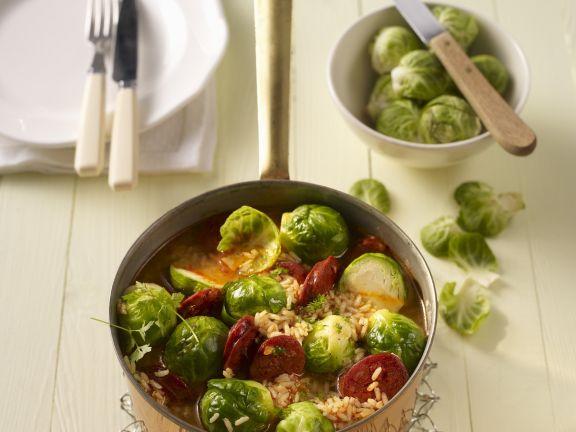 Rosenkohl-Reis-Topf mit Chorizo