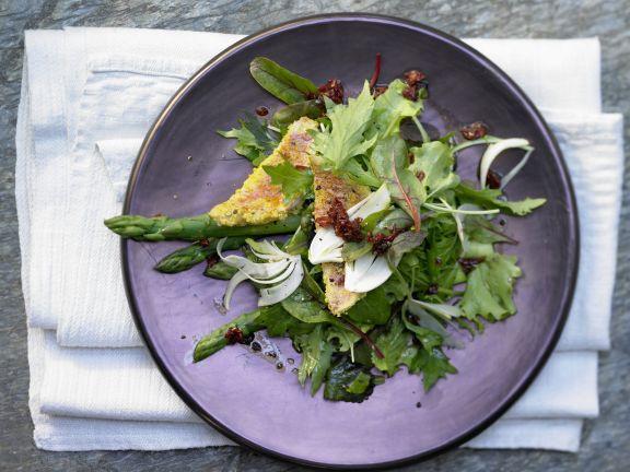 Rotbarbe auf Salate-Mix